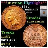 *Highlight* 1871 Indian 1c Graded au53 details