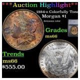 *Highlight* 1884-o Colorfully Toned Morgan $1 Grad