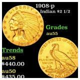 1908-p Indian $2 1/2 Grades Choice AU