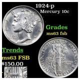 1924-p Mercury 10c Grades Select Unc FSB