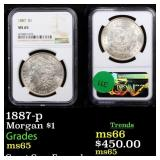 1887-p Morgan $1 Graded ms65