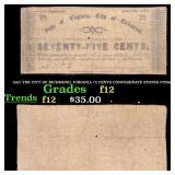 1862 THE CITY OF RICHMOND, VIRGINIA 75 CENTS CONFE