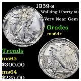 1939-s Walking Liberty 50c Grades Choice+ Unc