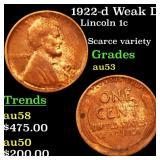 1922-d Weak D Lincoln 1c Grades Select AU