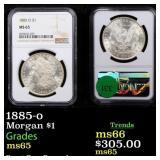 1885-o Morgan $1 Graded ms65