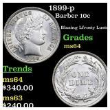 1899-p Barber 10c Grades Choice Unc