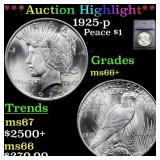 *Highlight* 1925-p Peace $1 Graded ms66+