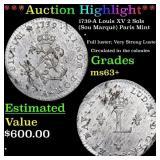 *Highlight* 1739-A Louis XV 2 Sols (Sou Marquè) Pa