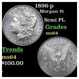 1896-p Morgan $1 Grades Choice Unc