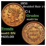 1851 Braided Hair 1/2c Grades Select Unc BN