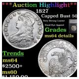 *Highlight* 1827 Capped Bust 50c Graded ms64 detai