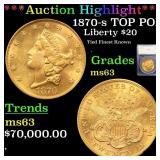 *Highlight* 1870-s TOP POP Liberty $20 Graded ms63