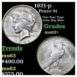 1921-p Peace $1 Grades Select Unc