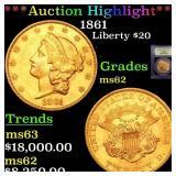 *Highlight* 1861 Liberty $20 Graded Select Unc