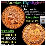 *Highlight* 1884 Indian 1c Graded ms65+ rb