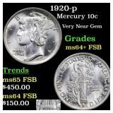 1920-p Mercury 10c Grades Choice Unc+ FSB