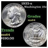 1935-s Washington 25c Grades Choice Unc