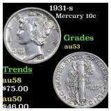 1931-s Mercury 10c Grades Select AU
