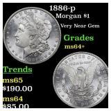 1886-p Morgan $1 Grades Choice+ Unc