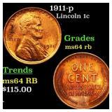 1911-p Lincoln 1c Grades Choice Unc RB