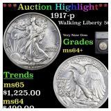 *Highlight* 1917-p Walking Liberty 50c Graded ms64