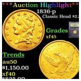 *Highlight* 1836-p Classic Head $2.5 Graded xf+