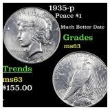 1935-p Peace $1 Grades Select Unc