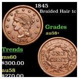 1845 Braided Hair 1c Grades Choice AU/BU Slider+