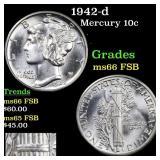 1942-d Mercury 10c Grades GEM+ FSB