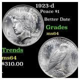 1923-d Peace $1 Grades Choice Unc