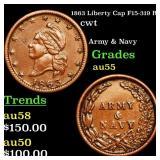 1863 Liberty Cap F15-319 R2 cwt Grades Choice AU