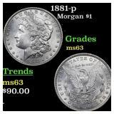 1881-p Morgan $1 Grades Select Unc