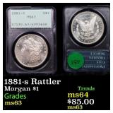 1881-s Rattler Morgan $1 Graded ms63