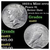 1923-s Mint error Peace $1 Grades Select Unc