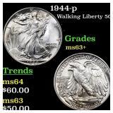 1944-p Walking Liberty 50c Grades Select+ Unc