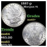 1887-p Morgan $1 Grades Select+ Unc