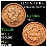 1853 N-28 R4 Braided Hair 1c Grades vf++