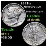 1927-s Mercury 10c Grades xf details