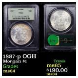 1887-p OGH Morgan $1 Graded ms64