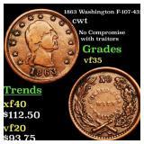 1863 Washington F-107-432a cwt Grades vf++