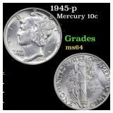 1945-p Mercury 10c Grades Choice Unc