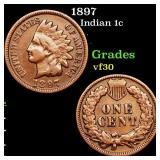 1897 Indian 1c Grades vf++