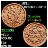 1851 Braided Hair 1c Grades vf details