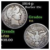 1914-p Barber 25c Grades f+