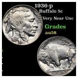 1936-p Buffalo 5c Grades Choice AU/BU Slider