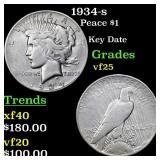 1934-s Peace $1 Grades vf+