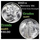 1943-s Mercury 10c Grades GEM Unc
