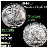 1946-p Walking Liberty 50c Grades Select+ Unc