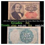 1874 25c Fractional Currency, 5th Issue, Short Key