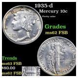 1935-d Mercury 10c Grades Select Unc FSB